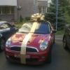 Бант на авто золотистый с лентами. Диаметр 70 см