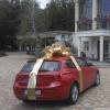 Бант на машину золотистий зі стрічкой. Діаметр 85см