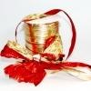 Лента полисилк двухцветная, красно-золотистая, ширина 12 см. Цена за метр.