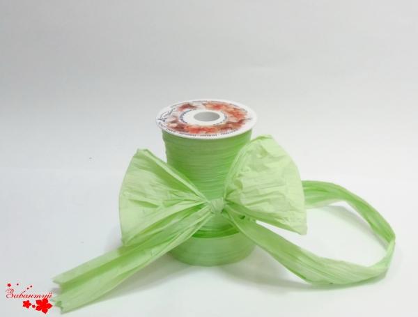 Лента декоративная матовая «мятый целлофан» пастельно-зеленого цвета. Моток 12 см на 50 метров.