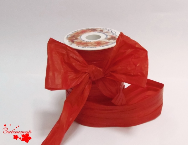 Лента декоративная матовая «мятый целлофан» красного цвета, ширина 12 см. Цена за метр