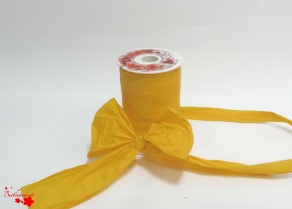 Лента декоративная матовая «мятый целлофан» желтого цвета, ширина 12 см. Цена за метр