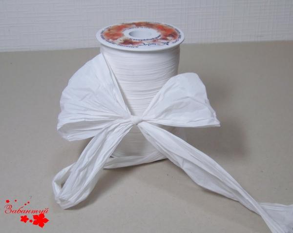Лента декоративная матовая «мятый целлофан» белого цвета, ширина 12 см. Цена за метр