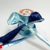 Лента полисилк двухцветная, сине-голубая. Моток 12 см на 50 метров.
