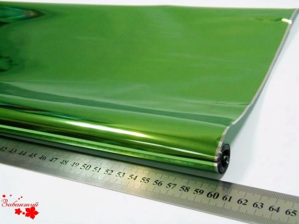 Однотонная пленка фольга для упаковки подарков 60см на 12м. зеленого цвета