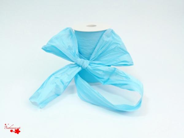 Лента декоративная матовая «мятый целлофан» голубого цвета, ширина 12 см. Цена за метр