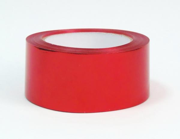 Лента металлизированная для упаковки 5см на 32м. Цвет: красный