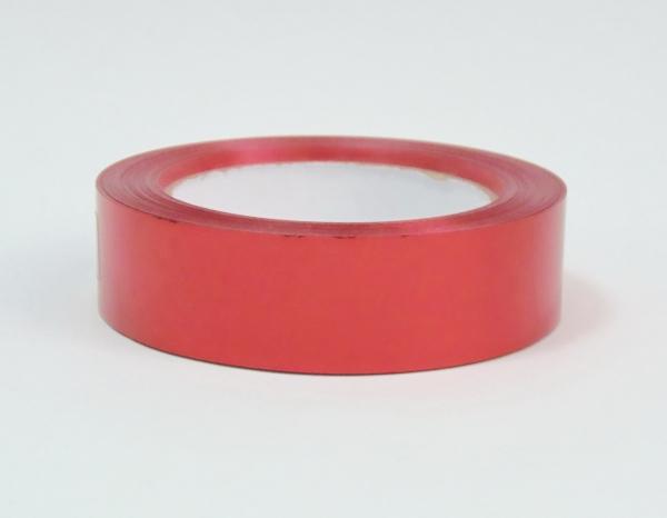 Лента металлизированная для упаковки 3 см на 32м. Цвет: красный