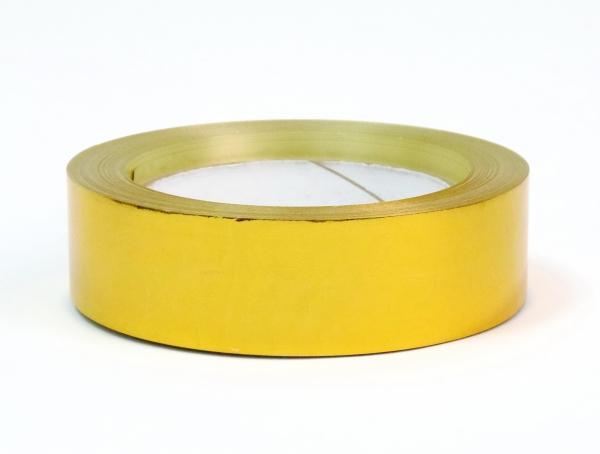 Лента металлизированная для упаковки 3 см на 32м. Цвет: золотистый