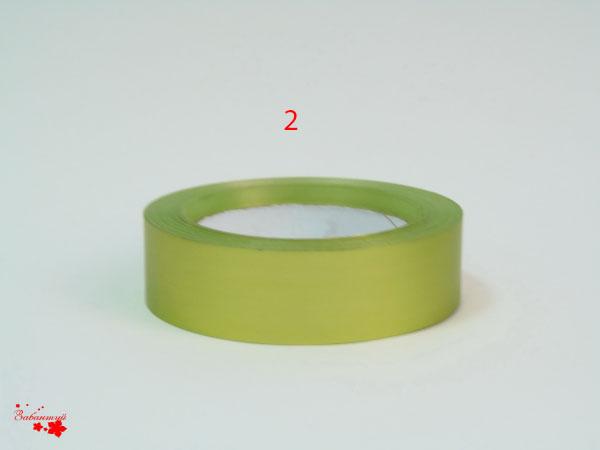 Лента металлизированная для упаковки 3 см на 32м. Цвет: салатовый