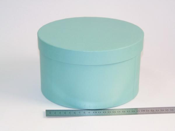 Диаметр 22 см, высота 13 см Круглая коробка. Цвет: бирюзовый.