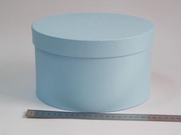Диаметр 22 см, высота 13 см Круглая коробка. Цвет: голубой.