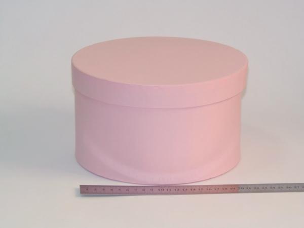 Диаметр 22 см, высота 13 см Круглая коробка. Цвет: розовый.