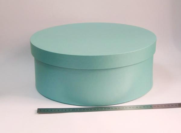 Диаметр 39 см, высота 15 см Круглая коробка. Цвет: бирюзовый.