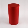 Диаметр 20 см, высота 35 см Круглая коробка. Цвет: малиновый.