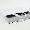 Размер 35*25*5 см Выдвижная коробка с ручками. Цвет бело-серый.