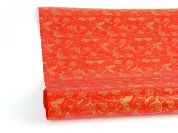 Рулон 70 см на 10 м. Подарочная бумага. Дизайн: бабочки на красном