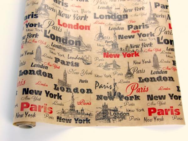 Подарочная бумага. Дизайн: Лондон.Рулон 70 см на 10 м.
