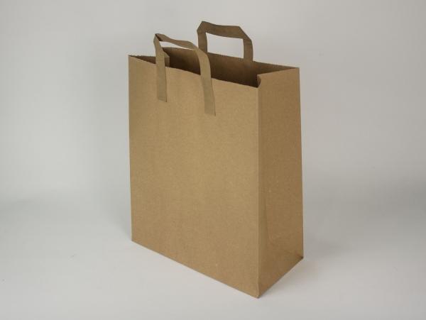 Бумажный пакет из крафт бумаги. Размер 38х32+14(дно) см