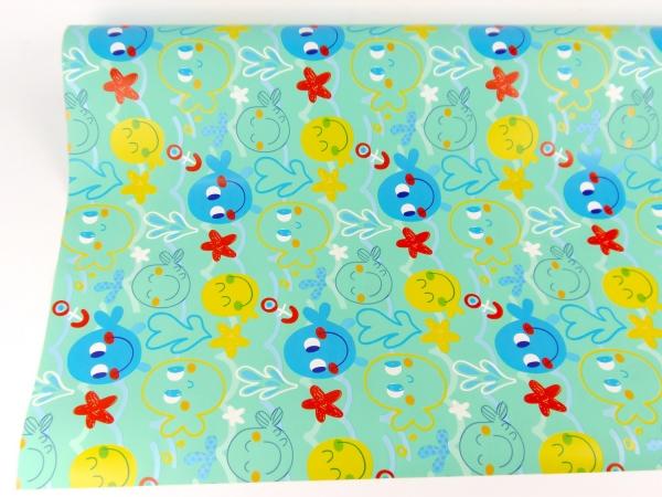 Рулон 70 см на 5 м. Детская подарочная бумага. Дизайн: рыбки