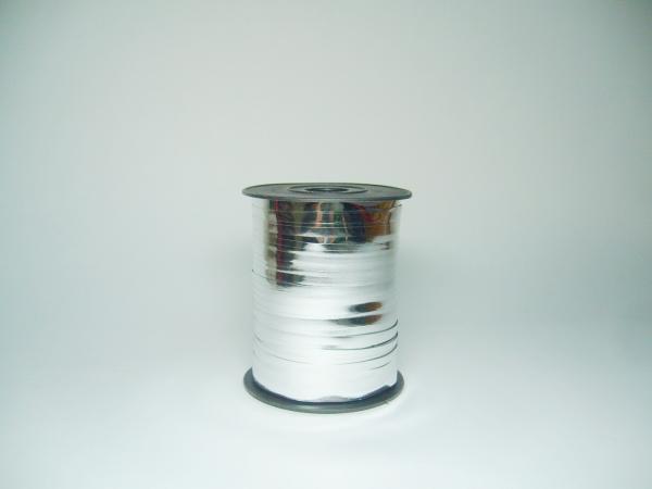 Лента металлизированная для упаковки подарков и цветов 1см см. 125 м. Цвет: серебристый