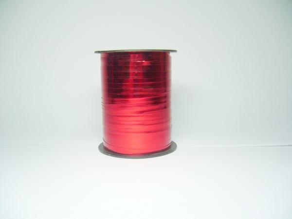 Лента металлизированная для упаковки подарков и цветов 0,5 см. 125 м. Цвет: красный