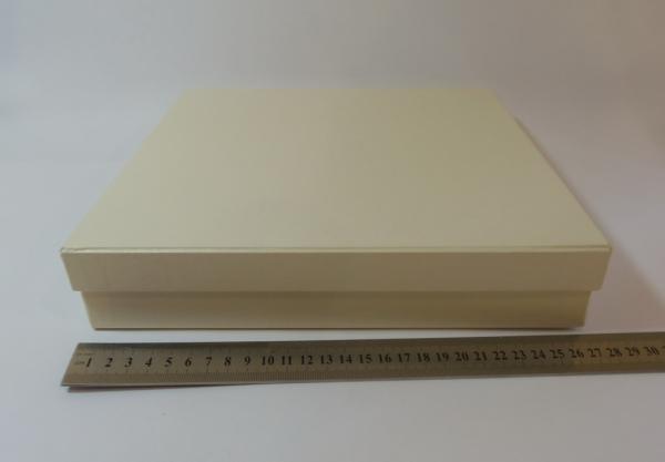 Подарочная коробка. Плотный картон. Цвет бежевый. Размер 25,2*24,6*7,1 см