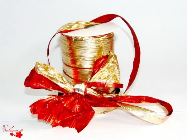 Лента полисилк двухцветная, красно-золотая. Моток 12 см на 100 метров.