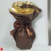 Салфетка круглая, собирающаяся в мешочек. Цвет коричневый с золотом. Диаметр 1 метр.