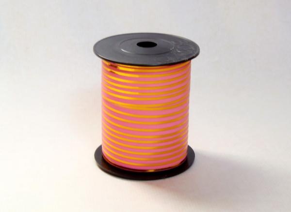 Лента с золотыми полосками для упаковки подарков и цветов 1 см. 63 м. Цвет: розовый
