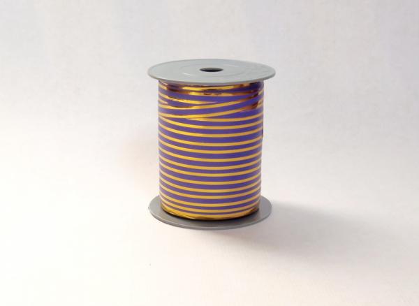Лента с золотыми полосками для упаковки подарков и цветов 1 см. 63 м. Цвет: фиолетовый
